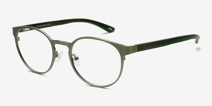 Glasses Frame Outline : Outline Matte Silver/Wood Metal Eyeglasses EyeBuyDirect