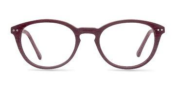 Burgundy Runaway -  Fashion Wood Texture Eyeglasses