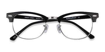 Black Silver Sweet Janet -  Fashion Acetate Eyeglasses