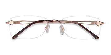 Golden/Brown Rivet -  Classic Metal Eyeglasses