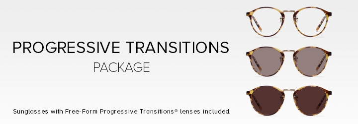 Sunglasses with Free-Form Transitions® lenses included.