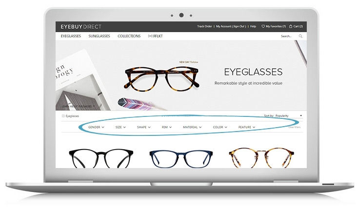 How to buy prescription glasses online – step 1 – filter your search