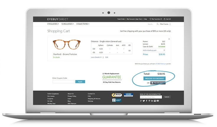 How to buy prescription eyeglasses online – step 1 – enter your payment & enjoy!