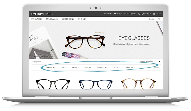How to buy prescription eyeglasses online – step 1 – filter your search