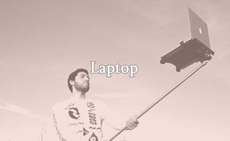Selfie stick with laptop