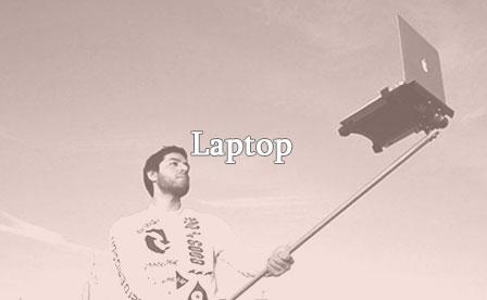 Selfie stick with laptop