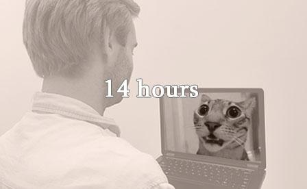 Man watching cat video