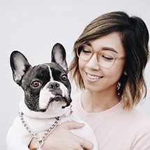 Girl with dog wearing Aura glasses from eyebuydirect