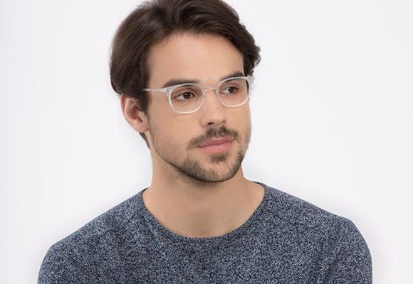 White eyeglasses man EyeBuyDirect